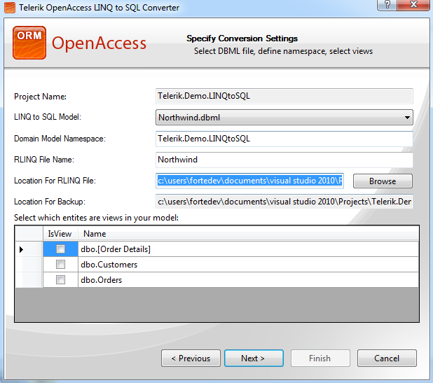 Convert an Existing LINQ to SQL Model to Telerik OpenAccess